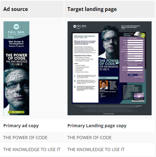 message match on landing page