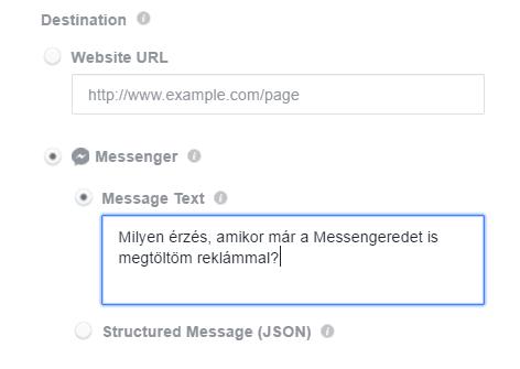 Facebook hirdetés célzása Messengerre